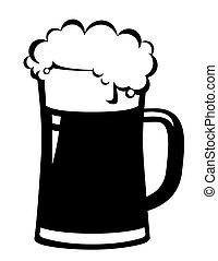 birra, nero, tazza