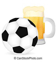birra, palla, calcio, tazza