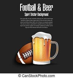 birra, palla, tazza, football