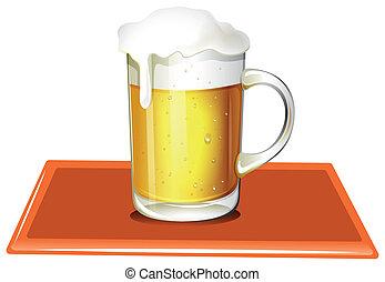birra, pieno, freddo, tazza