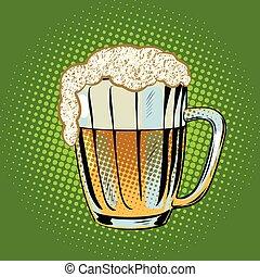 birra, pieno, tazza, schiuma