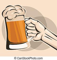 birra, presa, tazza, mano