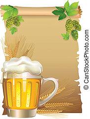 birra, retro, fondo