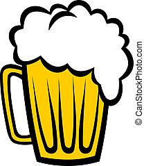 birra, rinfrescante, schiumoso, pinta