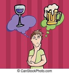 birra, scegliere, fra, vino beve, o, uomo