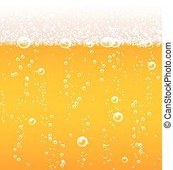 birra, schiuma, bolle, struttura