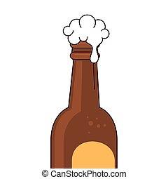 birra, schiuma, fondo, bianco, bottiglia