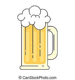 birra, schiuma, fondo, tazza bianca