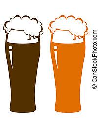 birra, schiuma, occhiali