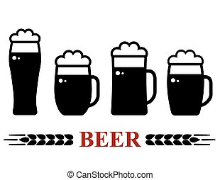 birra, schiuma, set, tazza