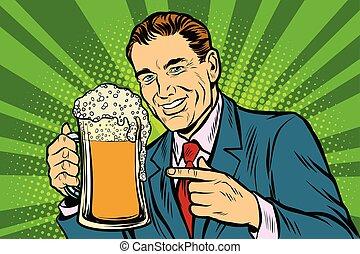 birra, schiuma, tazza, uomo