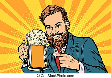 birra, schiuma, tazza, uomo, sorridente