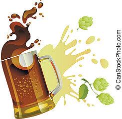 birra, schizzo, nero, tazza