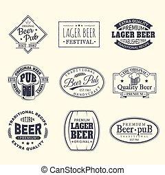 birra, set, adesivi, isolato