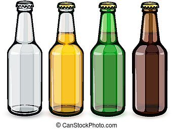 birra, set, bottiglie, vuoto, pieno