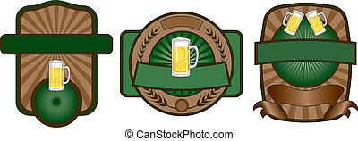 birra, set, emblema, etichetta