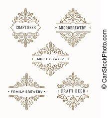 birra, set, emblema, flourishes