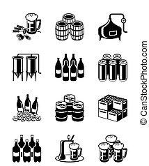 birra, set, fabbrica birra, icona