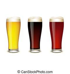birra, set, occhiali