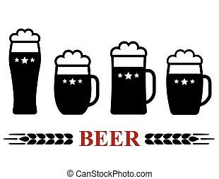 birra, set, tazza, schiuma