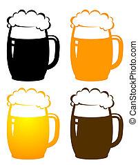 birra, set, tazze, colorito