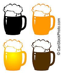 birra, set, tazze