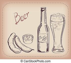 birra, spuntino, pinta