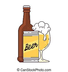 birra, tazza, fondo, bianco, bottiglia, vetro, lattina