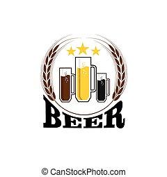 birra, tazze, illustrazione
