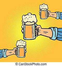 birra, tazze, mani