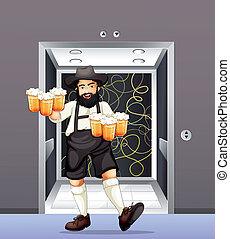 birra, tazze, uomo