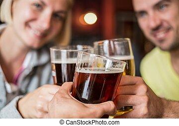 birra, tostare, amici, pub