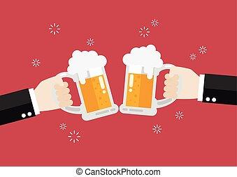 birra, tostare, due, occhiali, uomini affari