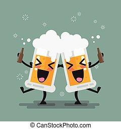 birra, ubriaco, carattere, due, occhiali