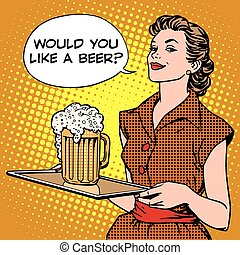 birra, vassoio, cameriera