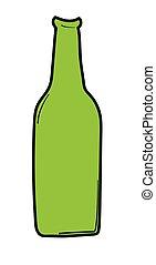 birra, verde, bottiglia
