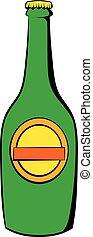 birra, verde, bottiglia, icona, cartone animato, icona