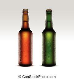 birra, verde leggero, bottiglie, etichette, vetro, isolato, marcare caldo, giallo, gocce, arancia, su, senza, vettore, marrone, chiuso, chiudere, set, acqua, gelido, trasparente, fondo, vuoto, bianco