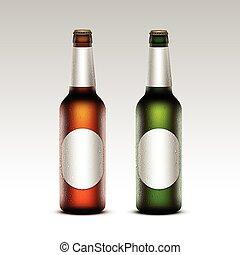 birra, verde leggero, bottiglie, etichette, vetro, rotondo, isolato, marcare caldo, giallo, gocce, arancia, su, vettore, marrone, chiuso, chiudere, set, acqua, gelido, trasparente, fondo, vuoto, bianco