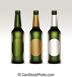 birra, verde leggero, bottiglie, etichette, vetro, rotondo, isolato, marcare caldo, su, vettore, dorato, chiuso, chiudere, set, trasparente, fondo, vuoto, bianco