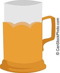 birra, vetro, illustrazione, bianco, vettore, fondo.
