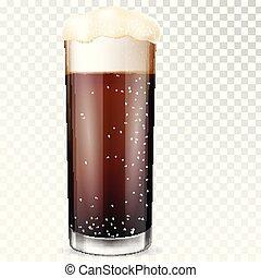 birra, vetro., trasparente, cup.