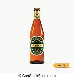 birra, vettore, bottiglia, etichetta