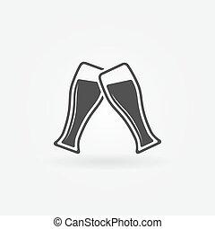 birra, vettore, due, icona, occhiali