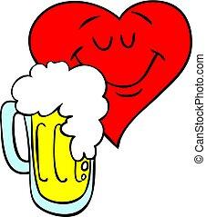 birra, vettore, heart., illustrazione, amare