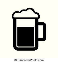 birra, vettore, icona