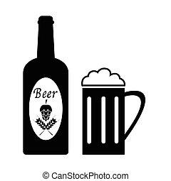 birra, vettore, icons.