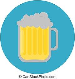 birra, vettore, illustration., icon., pinta
