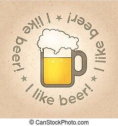 birra, vettore, illustrazione, pinta