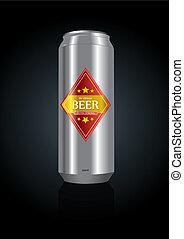 birra, vettore, lattina, illustrazione